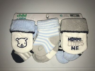 NWT ✿ Child of Mine by Carter's Boy's 6 Pack Newborn Socks Mommy Loves Me
