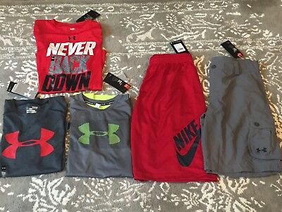 New Lot Of 5 Boys Under Armour Large Athletic Clothes Summer 3 Shirts 2 Shorts