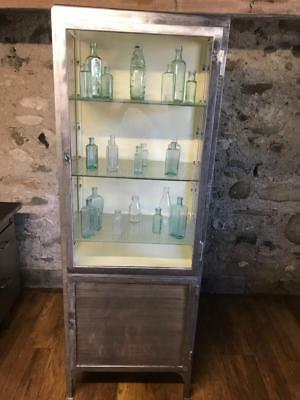 Stunning Vintage Industrial Stripped Metal Medical Display Cabinet Bookcase