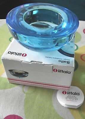 iittala Finland glass Bello candle holder - Blue - Brand New Boxed