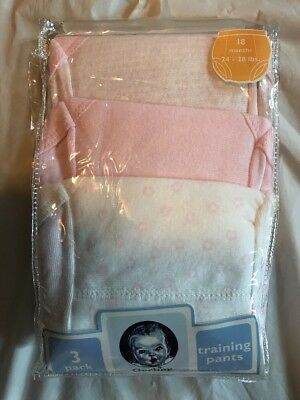 NWT Gerber Training Pants Sz 18 Months 24-28 Lbs Pink & White 3 Pack 100% Cotton