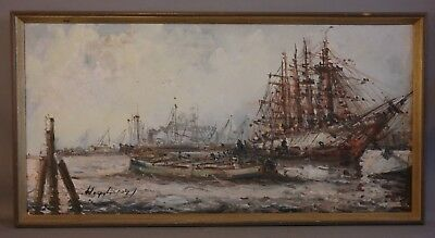 Vintage POST IMPRESSIONIST Tall Ship CLIPPER SHIP & HARBOR Old SEASCAPE PAINTING