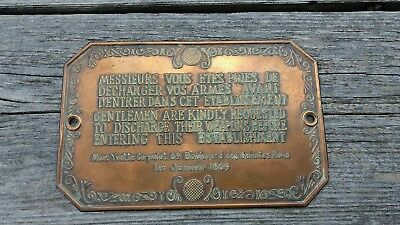 1869 Paris French/English DISCHARGE YOUR WEAPONS BEFORE ENTERING Brass Plaque