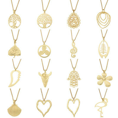 Tree of life Heart Flower Gold Large Pendant Statement Necklace Sweater Chain