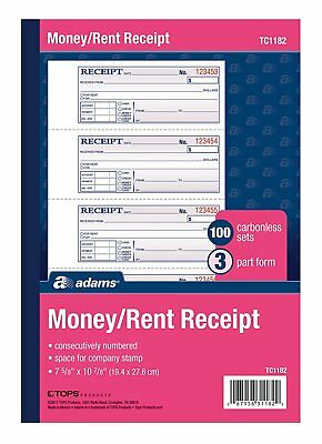"""Adams Money and Rent Receipt Book, 3Part, Carbonless, White/Canary/Pink,7 5/8"""""""