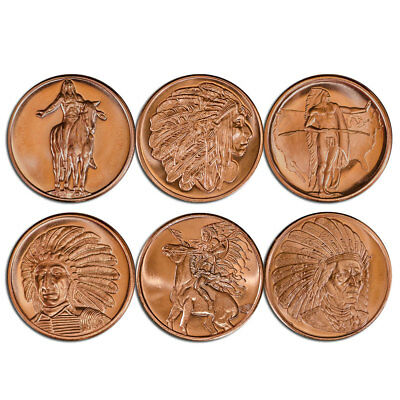 Coins & Paper Money 1 Oz Copper Coin Native American Indian Series # 2 Copper Bullion Round