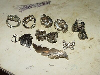 Estate Vintage Lot Of Signed Sterling Jewelry Earrings Pins # 19