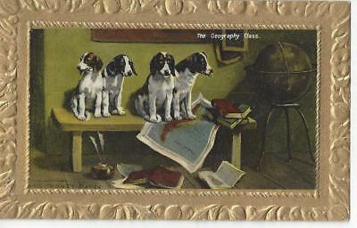 The Geography Class - Spaniel Dogs, World Globe, Maps Vintage Postcard