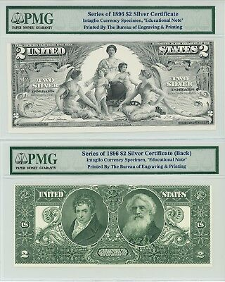 1896 $2 Silver BEP Intaglio Currency Specimen Educational Note PMG Front & Back