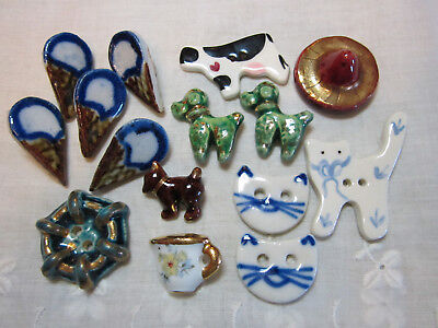 Fun Lot Of Vintage Ceramic/ 1 Limoges Realistic Buttons/ Cats/ Dogs +