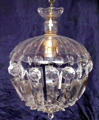 Vintage Electrified CRYSTAL CHANDELIER with Original CANDLE HOLDER Electric
