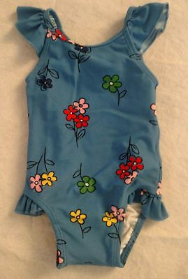 NWT Hanna Andersson Blue Floral Swimmy One Piece Swimsuit Baby Toddler Girl