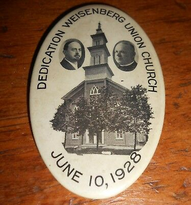 1928 Pocket Mirror - Celluloid-Dedication Weisenberg Union Church - Pa