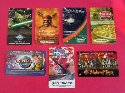7- Orlando Collectible Room Key cards - Disney & Universal Theme Park Subject