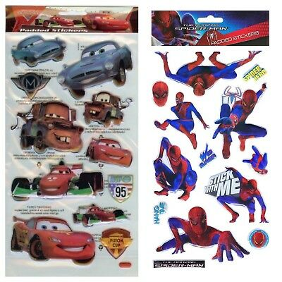 Spiderman Cars Children's Character 3D Padded Stickers Kids Fun Arts & Crafts