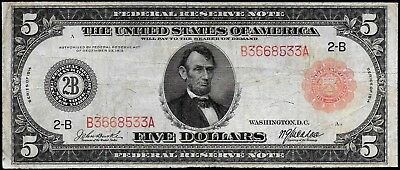 VERY TOUGH NOTE!! 1914 LARGE-SIZE $5 RED SEAL Fr-833A NEW YORK