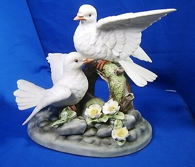 "large Gorham ""gallery birds"" bisque porcelain pair white doves with wood base"