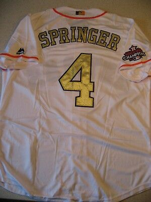51314958 White Majestic Houston Astros George Springer 4 Gold Program Cold Base  Jersey XL