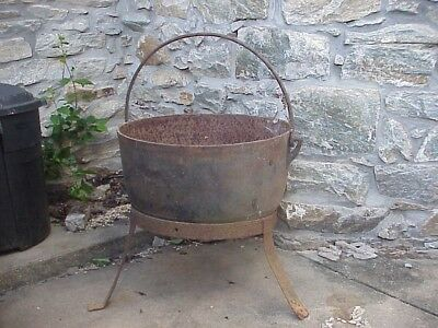 Large Antique Cast Iron Kettle With Bale And Stand
