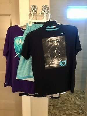 Lot of 10 Boys Nike KD Dri-fit Basketball Tees and Shorts Sizes M, L, XL