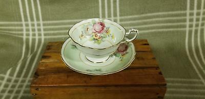 VINTAGE PARAGON Green w. Roses Footed TEA CUP AND SAUCER A981/8