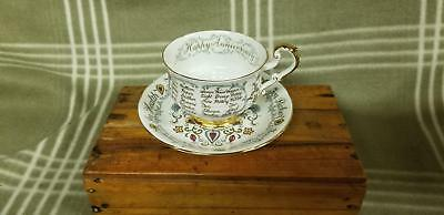 """VINTAGE PARAGON BY APPOINTMENT To QUEEN """"HAPPY ANNIVERSARY"""" TEA CUP AND SAUCER"""