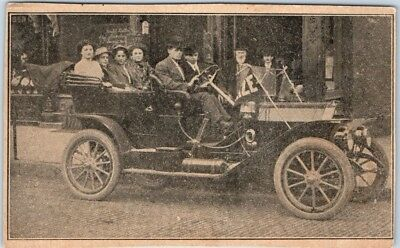 Vintage Automobile Postcard Family in Automobile, Street View c1900s *Trimmed