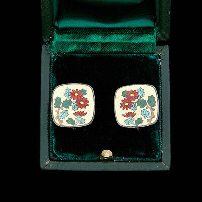 Antique Vintage Art Deco Sterling Silver English Enamel Flower Motif Earrings