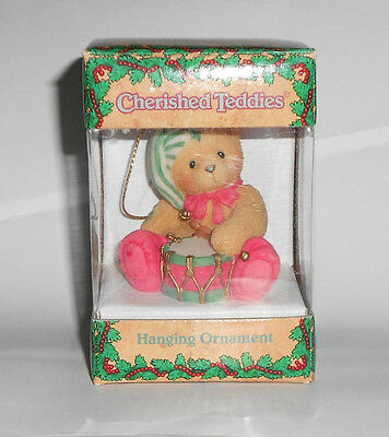 1999 Enesco CHERISHED TEDDIES #546550 DRUMMER BOY BEAR CHRISTMAS ORNAMENT Nice!
