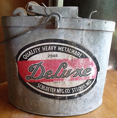 Vintage DeLuxe Glavanized Metal Mop Bucket With Wood Rollers Made in USA
