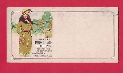 0118F Wrenn's Porcelain Blotting Vtg Blotter Art Deco Woman Wears Fur Fields
