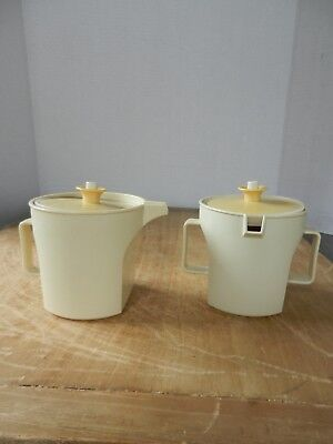 Vintage TUPPERWARE Creamer and Sugar with Lids Almond & Harvest Gold #1414 #1415