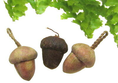 3 Antique Diminutive Cloth Acorn Buttons J74