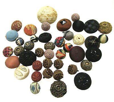 Large Lot Of Antique Cloth /  Fabric Buttons J89