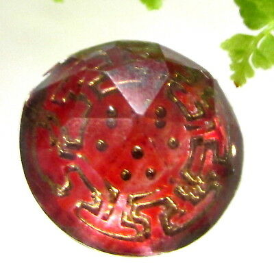 Beautiful Antique Glass Kaleidoscope Button Red With Nice Gold Design J101