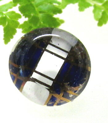 Pretty Antique Glass Kaleidoscope Button Cobalt Blue White & Gold Stripes J107