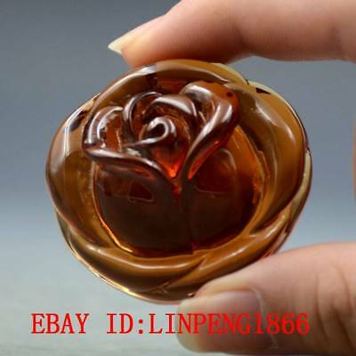 21.3g 100% Natural Blood Red Burmite Amber Stone Hand-carved Rose Flower Pendant