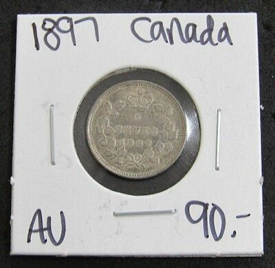 1897 Canada AU Five Cent Silver Coin