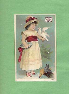 LITTLE GIRL Holds Lovely DOVE On PYLE'S PEARLINE SOAP Victorian Trade Card