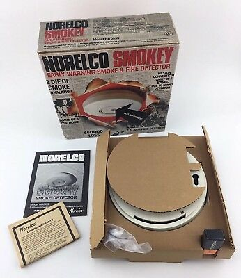 NOS Vintage 1978 NORELCO SMOKEY HB0933 Smoke & Fire Detector (Made In U.S.A.)