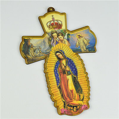 Wooden Religious Virgin Mary Crucifixes With Our Lady of Guadalupe Picture
