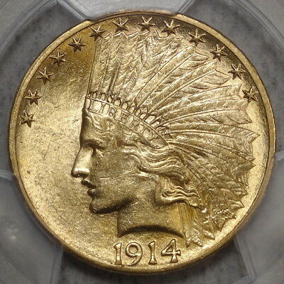 1914-S Indian $10 Gold Eagle, Choice Almost Uncirculated PCGS AU-58, Scarce