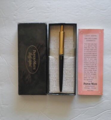 Vintage Paper & Mate Lady Capri Ball Point Pen Black With Gold Cap