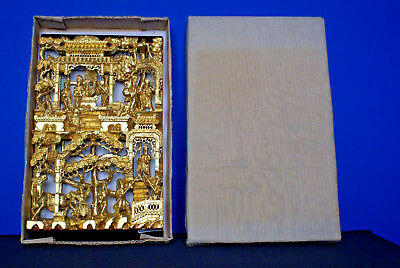 19Th Century China Chinese Carved Wood Gilt Gold Painted Panel - Still In Box
