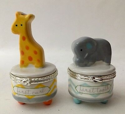 Mud Pie Keepsake Giraffe & Elephant Tooth & Curl Set Boy Or Girl