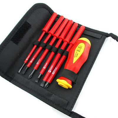 7pc Electrician's Insulated Magnetic Electrical Hand Screwdriver Tool Set New