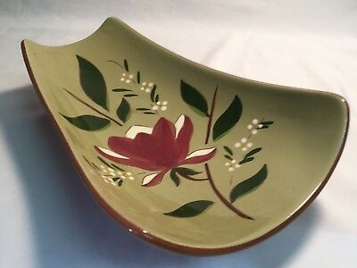 Stangl Art Pottery Magnolia, Large Footed Relish Dish Mid Century Modern