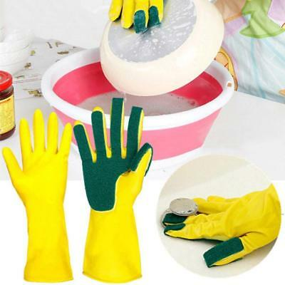 HOT Sponge Gloves Dishwashing Kitchen Cleaning Household Clean Rubber Latex Hand