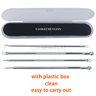 4Pcs Stainless Steel Blackhead Remover Facial Pimple Needle Acne Extractor Kit