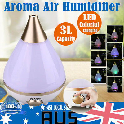 3L Steam Aroma Ultrasonic Air Humidifier Diffuser Purifier Mist Color Changing